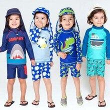 Kids Boy Swimsuit Two Piece Children Swimwear Child Swim Trunk Beach Cap Baby Swimsuit Cartoon Split Rash Guard Bathing Suit