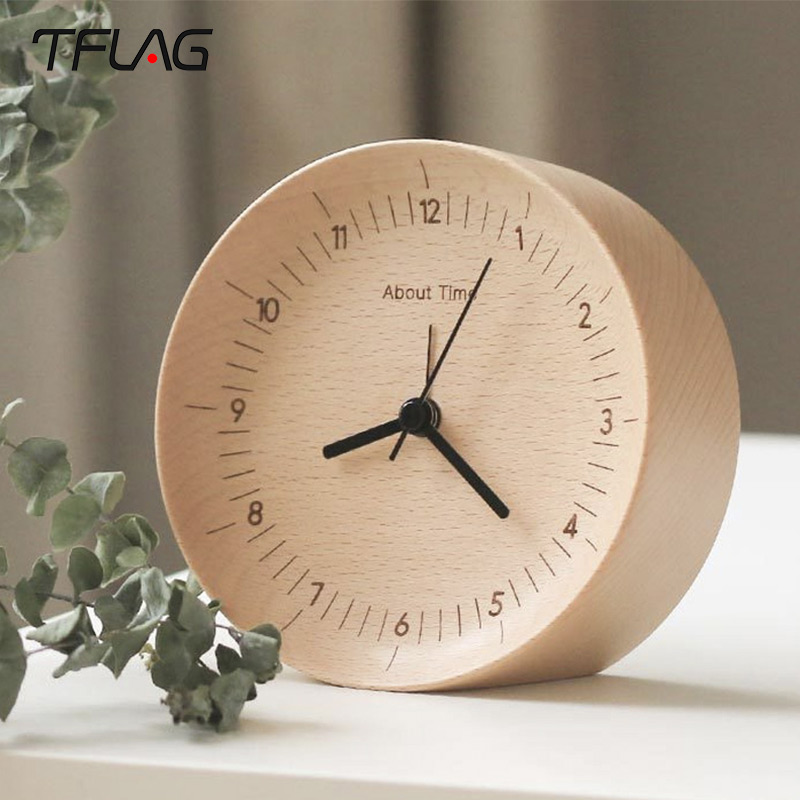 Original Tflag About Time Alarm Clock Beech Wooden Mute Desktop Table Clocks Watch For Xiaomi Smart Home 0