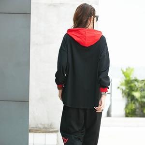 Image 2 - Max LuLu Herbst Mode Koreanische Damen Punk Tops Harem Hosen Club Outfits Frauen Zwei Stück Set Gedruckt Übergroßen Mit Kapuze Trainingsanzüge