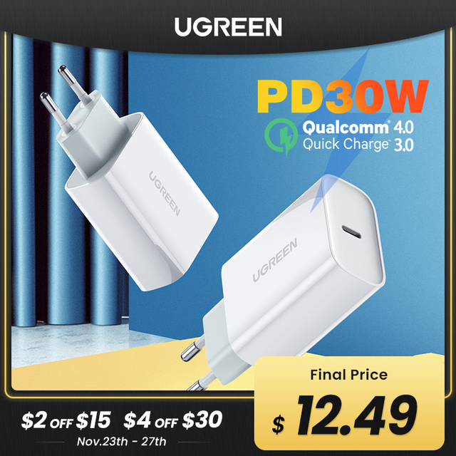 """Ugreen פ""""ד מטען 30W USB סוג C מהיר מטען עבור iPhone 12 X Xs 8 Macbook טלפון QC3.0 USB C טעינה מהירה 4.0 3.0 QC פ""""ד מטען"""