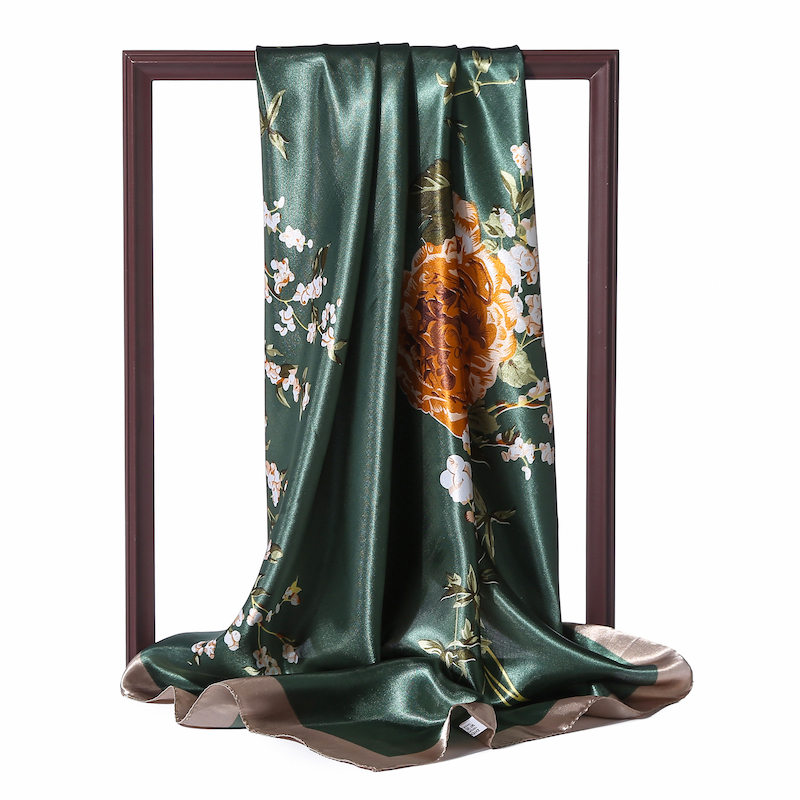 Spring Women Square Silk Scarf Floral Print Satin Office Neck Scarves Hijab Foulard Hair Head Band Shawls Lady Wraps