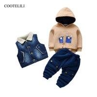 COOTELILI 3pcs Velvet Fleece Toddler Girls Winter Clothes Sets Thicken Warm Jeans Vest + Sweatshirt + Pants Boys Coat Clothes