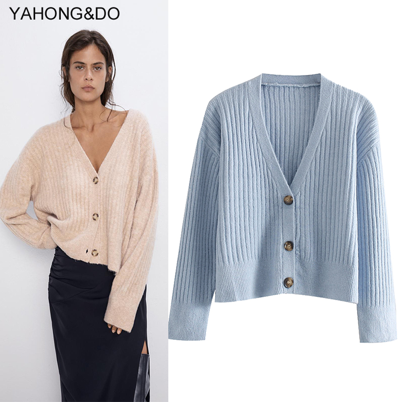 ZA Women Cardigans 2019 New Autumn Solid Knitted Winter Thick Coat Femme Blue Casual Cashmere Chic Knitted Outweat Cream Top