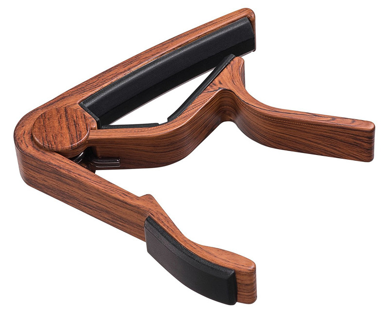 Capo de chitară metalică cu grâne din lemn, cu pernă de silicon - Instrumente muzicale - Fotografie 3
