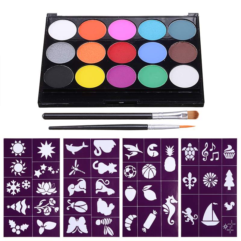15 Colors Face Body Paint Kit Palette Set DIY Body Oil Painting Art for Halloween Fancy Dress Party Painting Stage Makeup