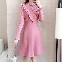 Vintage Ruffle Pin Up A Line Dress Women Warm Retro Elegant Office Lady Fit And Flare Long Sleeve Casual Sexy Sweet Mini Dresses