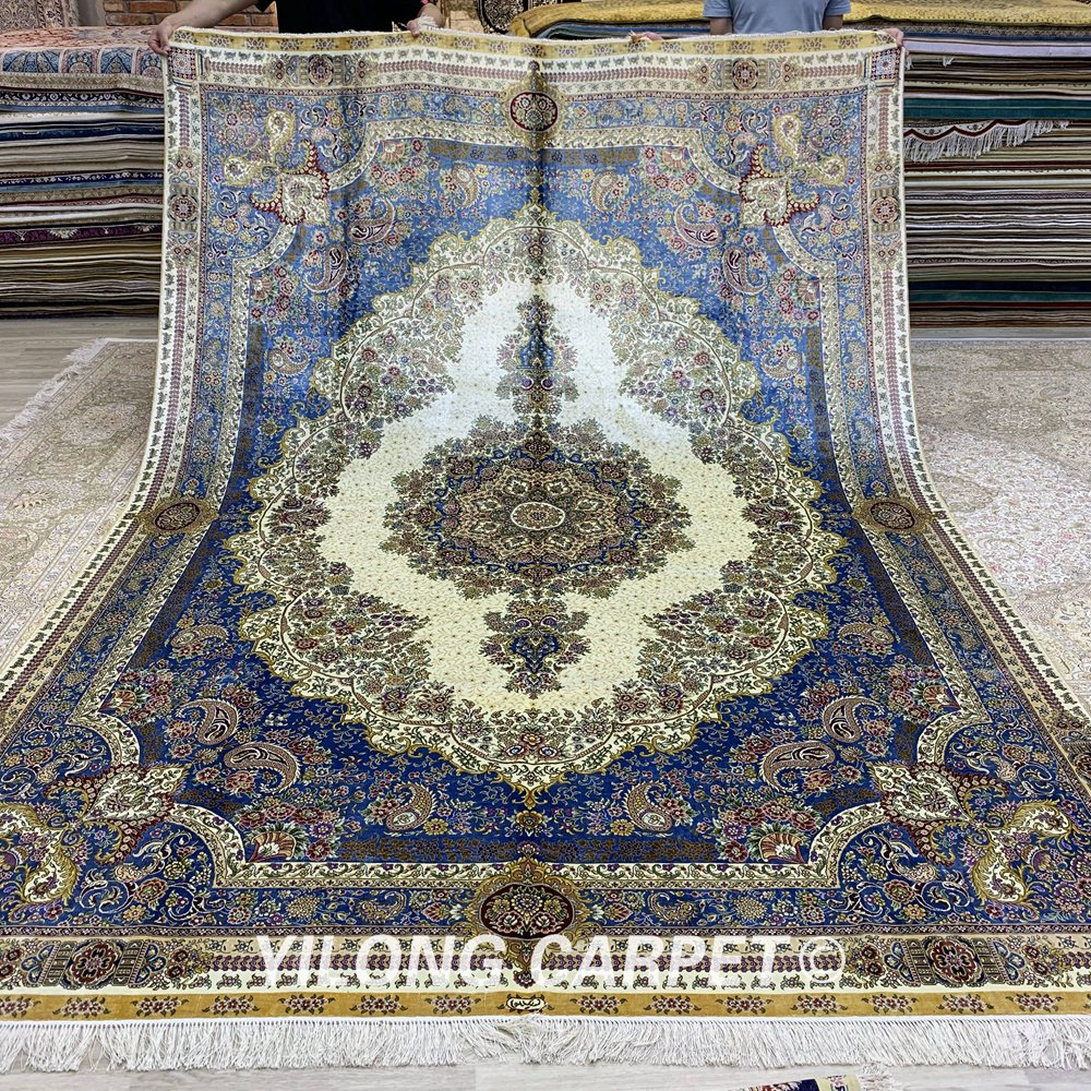 Large Beige And Blue Antique Silk