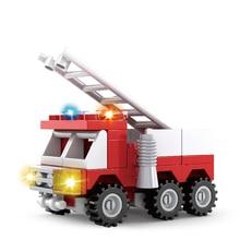 AUSINI Construction City Fire Trucks Toys for Children Fire Department Building Blocks Fireman Figures Ladder Model Block Bricks машинка pioneer toys fire department 26 цвет красный