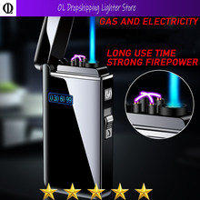 Unusual USB Lighter Jet Butane Turbo Torch Lighter Windproof Metal Rechargeable Electronic Lighter 2 Type Flame Use Alternately