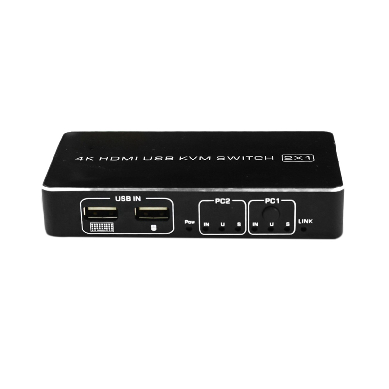 4K HDMI KVM Switch 2In 1Out USB HDMI2.0 KVM Switcher Splitter With Cable For Keyboard Mouse Printer Monitor(EU Plug)