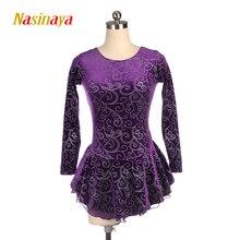 Nasinaya Figure Skating Dress Customized Competition Ice Skirt for Girl Women Kids Gymnastics Performance Purple