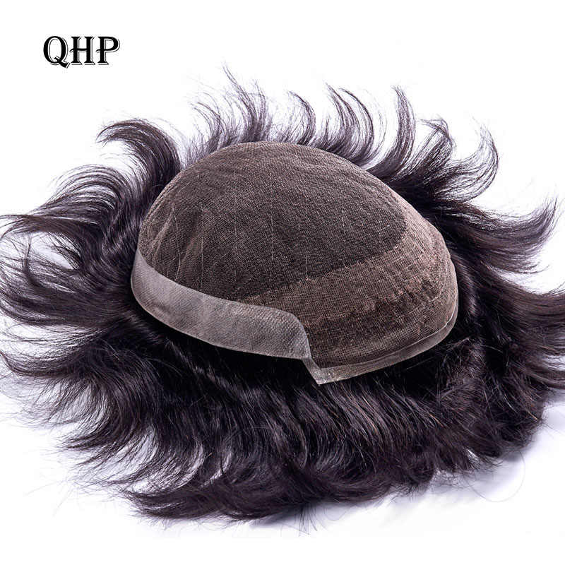FRENCH LACE With PU Mens Toupee Remy Indian Hair Replacement System Human French Lace Super Hairpieces Wig Handmade