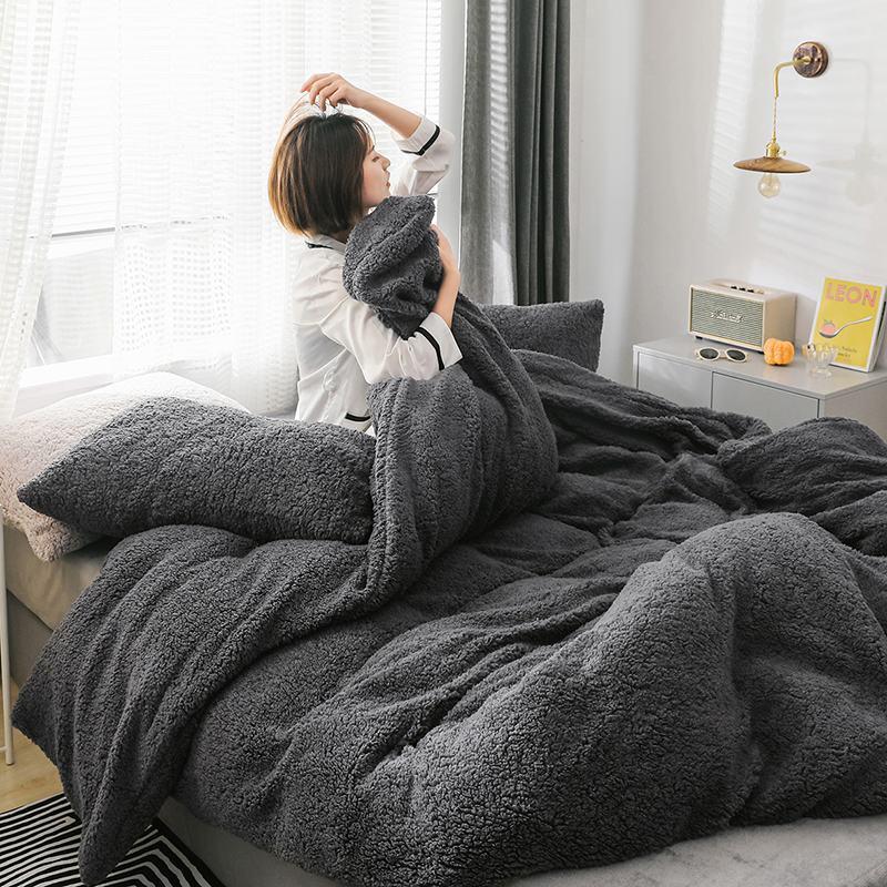 Home Textiles Quilt Cover Winter Fleece Bedding Sets Soft Warm Duvet Cover Cashmere Solid Lamb Cashmere Bedding Cover Winter