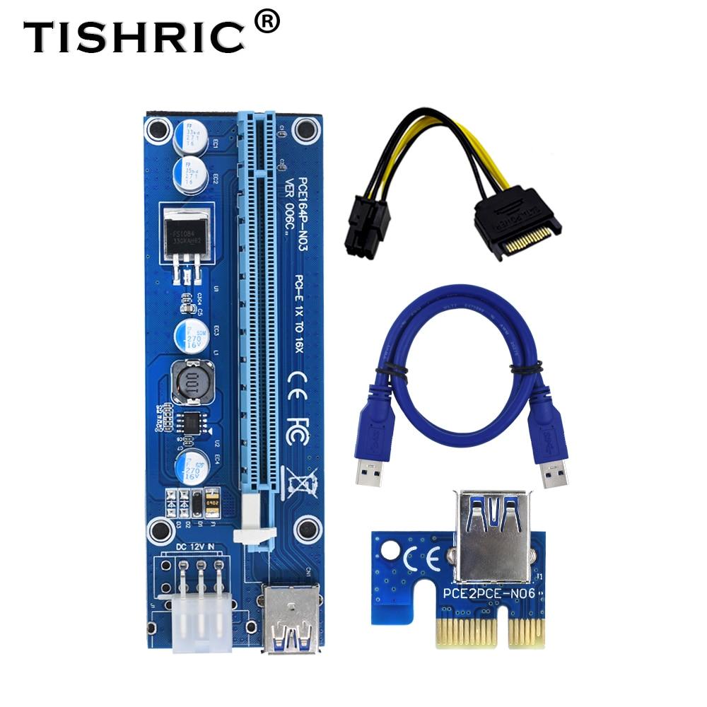 10 pces tishric gpu pcie pci-e riser 006c cartão pci e x16 pci express 6pin para sata 1x 16x usb3.0 extensor led para mineração eth btc