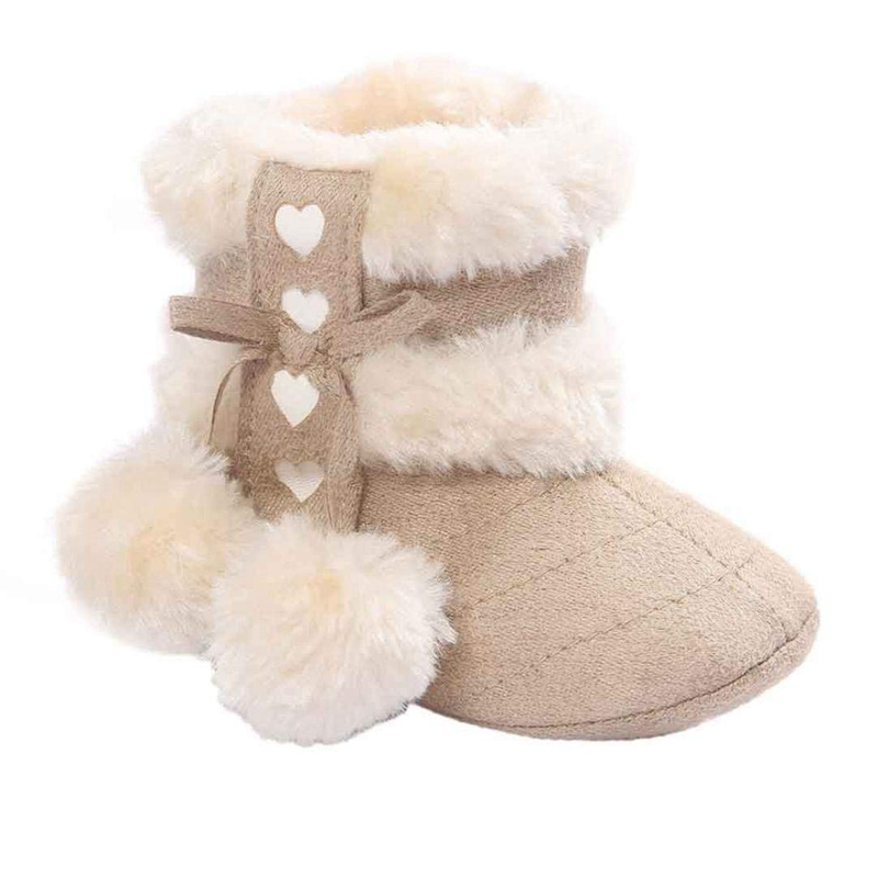 Baby Toddler Infant Girls Snow Boots Soft Sole Prewalker Crib Shoes (0~6 Month Length:4.3inch US:2.5)