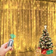 Guirlanda cortina para o quarto de ano novo luzes de natal do casamento decorações cortinas para casa festão led luz decoração luzes de fadas