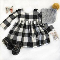 Платье клетчатое для девочек, черно-белое, с длинным рукавом
