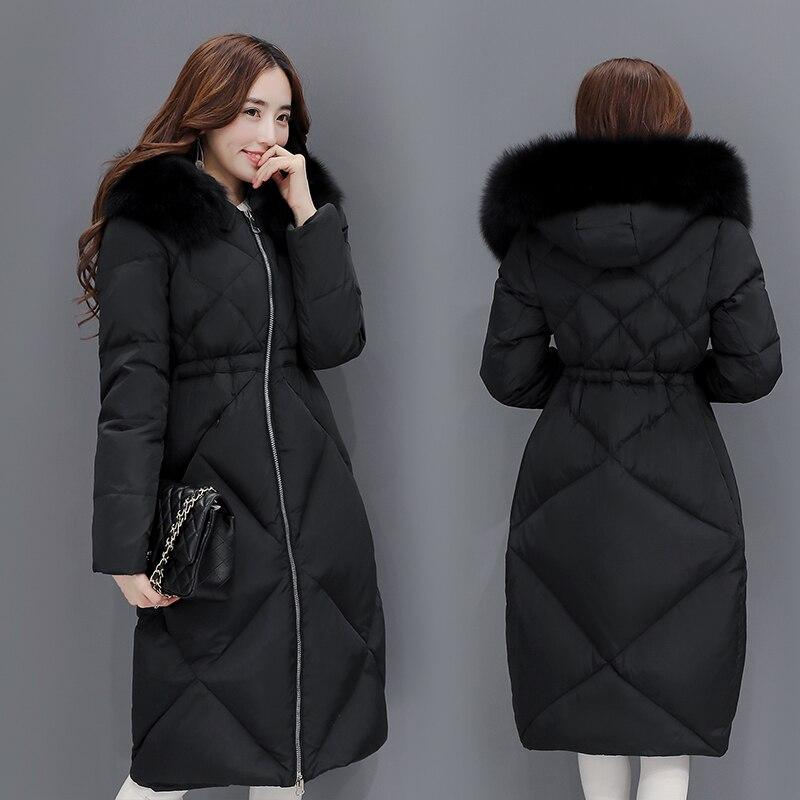 New 2020 Winter Jacket Women Hood Black Down Coat Thickening Long Super Warm Faux Fur Windbreaker Female Outwear LX1000