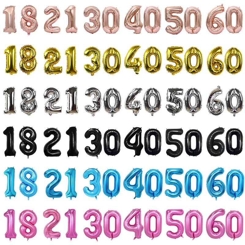 32 インチ 5 色バルーンバナー 18 21 30 40 50 60 誕生日パーティーの装飾大人の誕生日の手紙番号箔バルーングロボスボール