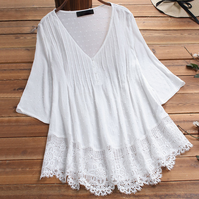 Embroidery Women's White Blouse Casual Plus Size Tops Elegant V-Neck Long Sleeve Tunic Summer Autumn Floral Print Women's Shirt 3