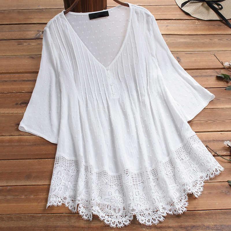 เย็บปักถักร้อยผู้หญิงสีขาว Casual PLUS ขนาดเสื้อแขนยาวคอยาวฤดูร้อนฤดูใบไม้ร่วงดอกไม้พิมพ์ผู้หญิงเสื้อ