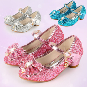 Girls High Heel Shoes Leather Shoes Princess Shoes 2020 New Style Korean-style Girls Performance High Heel Shoes Children Bow Sh