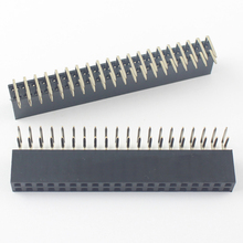 100Pcs ללוט 2.54mm Pitch 2x20 פין 40 פין נקבה זוגי שורת זווית ישרת פיני stri