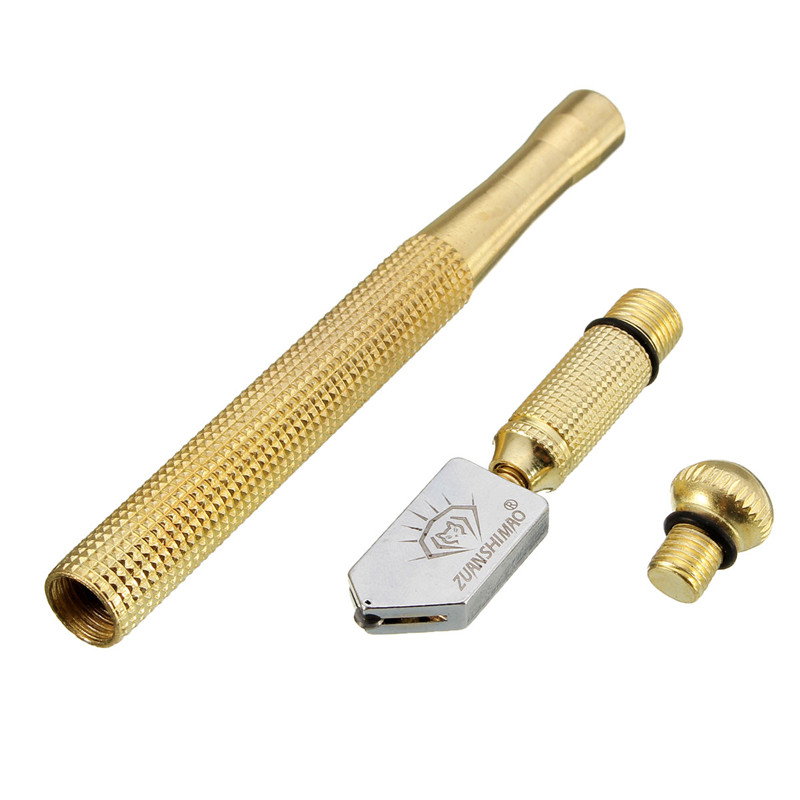 1PC 17x1.5x1.3cm High Quality Diamond Antislip Metal Handle Steel Blade Oil Feed Glass Cutter Cutting Construction Tools