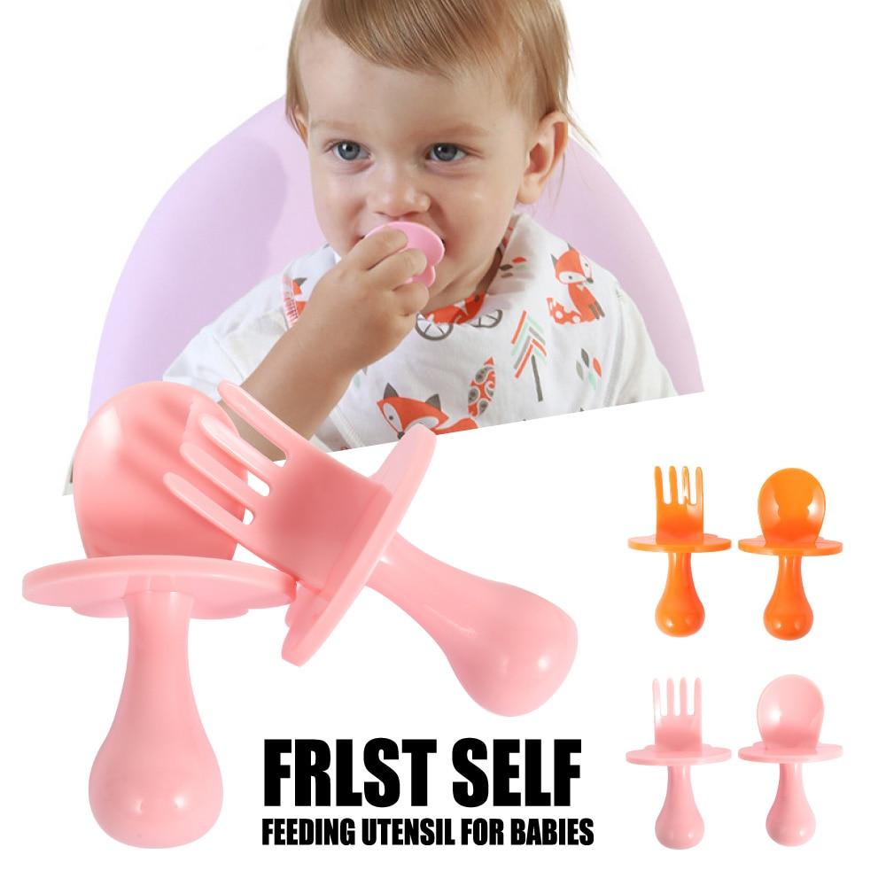 Baby Utensils Feeding Spoon Fork Set Safe Case Toddler Babies Easy Grip Heat-Resistant Children Feeding Training Spoon