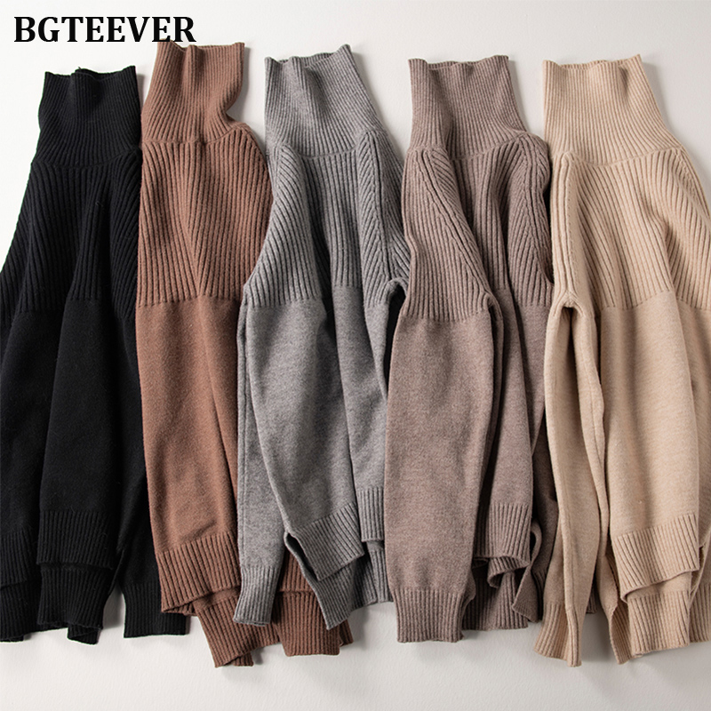 BGTEEVER Vintage Thicken Striped Women Sweaters Autumn Winter Turtleneck Pullovers Jumpers Female Korean Knitted Tops Femme 2019