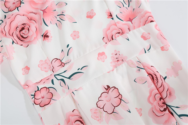 Summer Floral Print Elegant A-line Party Dress Women Slim White Short Sleeve Swing Pin up Vintage Dresses Plus Size Robe Femme 55
