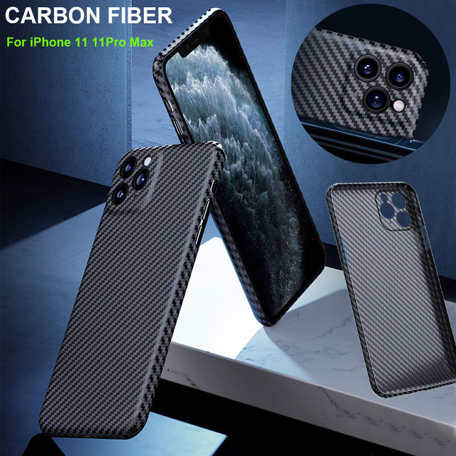 Luxe Real 3D Carbon Fiber Kevlar 0.6Mm Thiness Slim Sport Camera Lens Protectiove Case Cover Voor Iphone 12 11 12Pro 11Pro Max