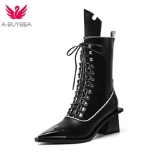 купить Real Leather Women Mid Calf Boots Lace Up Cowboy Boots Women Black Autumn Winter Botas Mujer High Heels Women Western Boots дешево