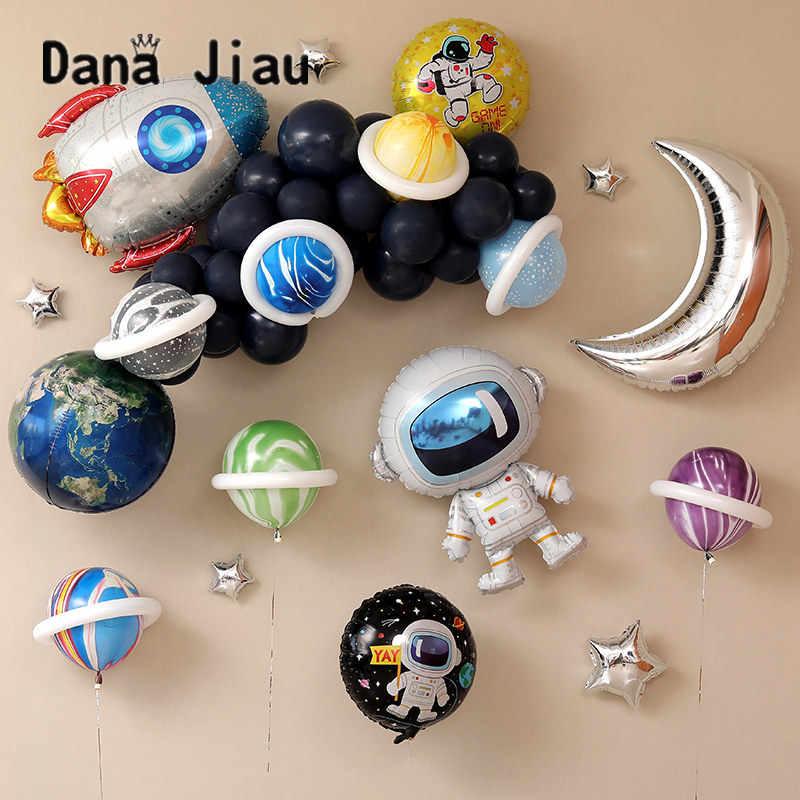 דנה jiau חלל סדרת רדיד בלון שמח מסיבת יום הולדת קישוט כדור הארץ לחקור להגן על הסביבה נושא ירח stat