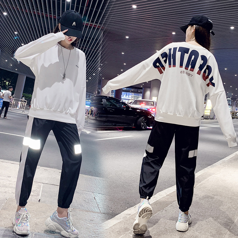 INS Online Celebrity Hoodie 2019 Autumn And Winter New Style Casual Fashion & Sports Loose-Fit BF Hip Hop Two-Piece Set Fashion