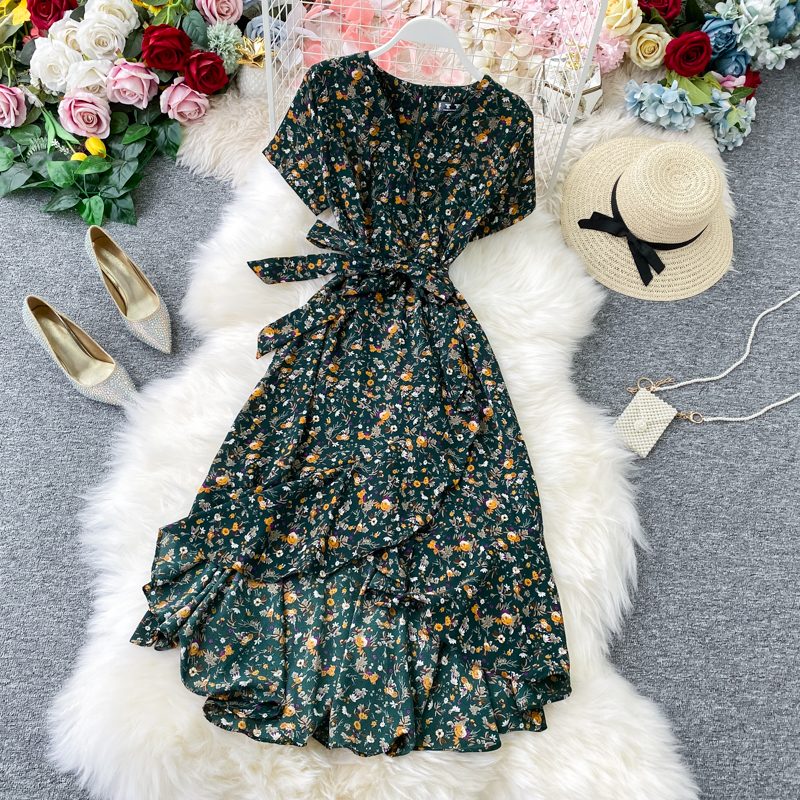 Boho Vintage 2020 Floral Print Ruffles V Neck Bandage Long Chiffon Dress Summer Party Women Beach Holiday Irregular Tunic Dress