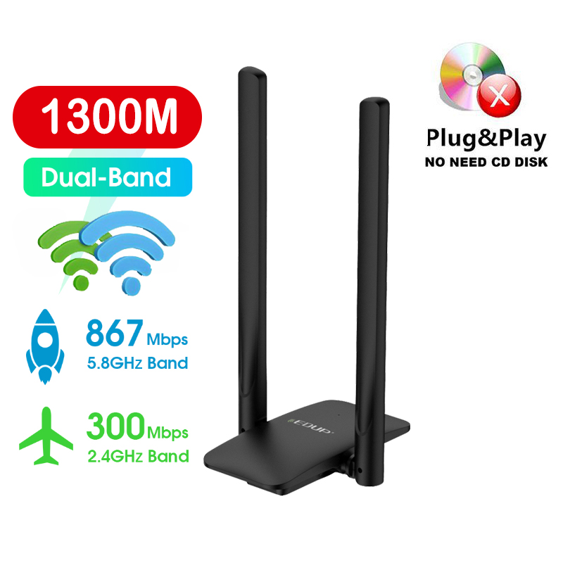 Wireless wifi USB network card 2.4G/5.8G adapter 1200M/1300M wifi Receiver High Speed Plug and play for TV PC Laptops handphones