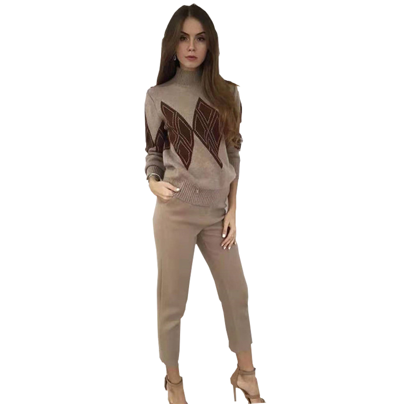TAOVK Women Knit Sweater And Pants Suits Geometric Pattern Pullover Jumpers +Long Trouser Female Knitting Clothing Suits