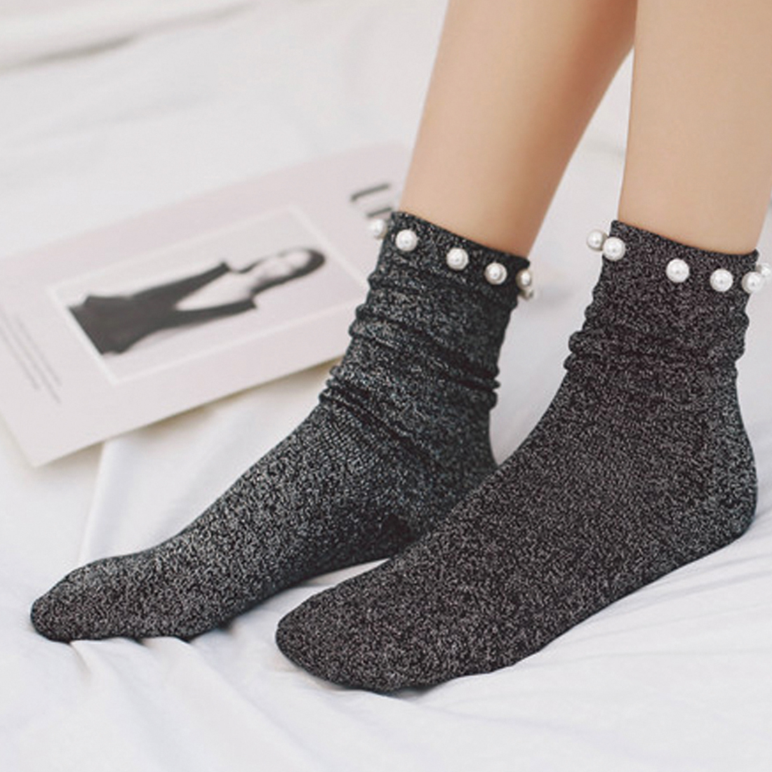 2019  Women socks Cotton Lovely Candy Color Imitation Pearl Women's Socks.Casual Ladies Girl's Short female Socks Sox Hosiery