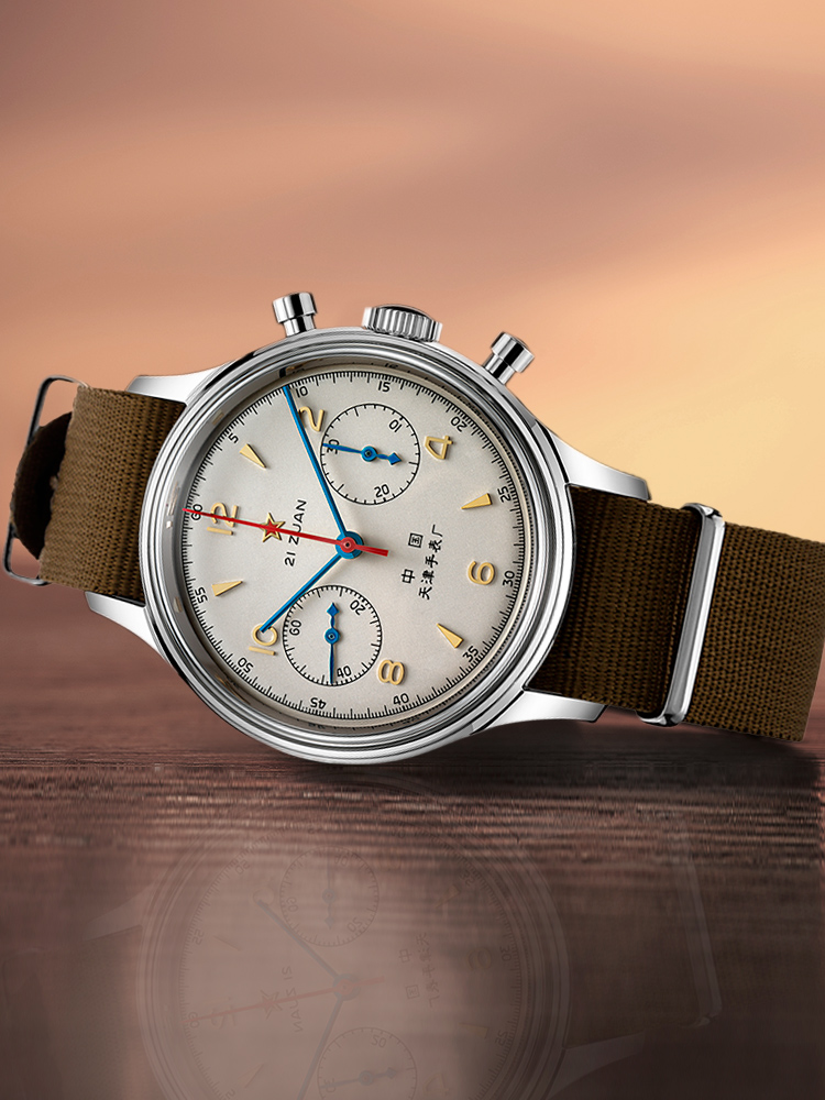 Men's Watch Chronograph Mechanical Seagull Limited-Edition Aviation Manual-Winding Air-Force