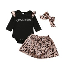 Newborn Baby Girl Leopard Bodysuits New Summer Clothes Set Tops+Skirt+headband 3PCS Outfit Soft Cotton Toddler Kids Clothing(China)