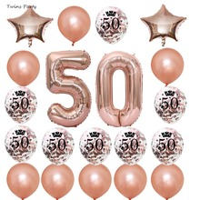Twins Party 50th birthday Decorations Adult Fathers day Happy Birthday Banner Confetti Balloons Kits