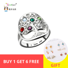 StrollGirl  925 sterling silver personalized family tree ring with birthstone ladie fashion ring mother's day gift free shipping xiaojing 925 sterling silver personalized family tree ring with birthstone women fashion ring mother s day gift free shipping