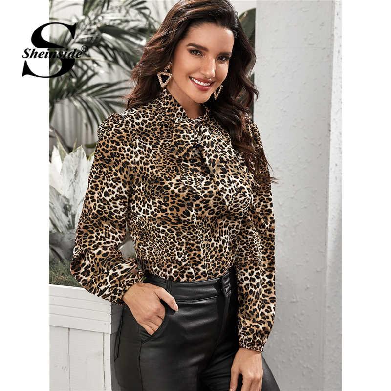 Sheinside rahat leopar baskı bluz kadınlar 2020 bahar papyon boyun bluzlar ofis bayanlar zarif fener kol Top