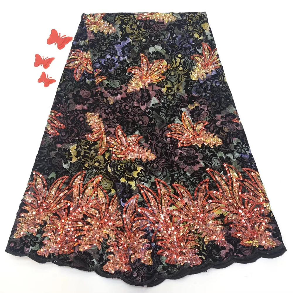 Tulle Lace Fabric For Dresses Latest Embroidery Nigerian French Fabrics With Sequins High Quality African Lace Fabric ML8475