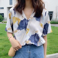 2019 Summer Vintage Printed Fashion Women Blouses Half Sleeve Shirts Print Chiffon Blouse Ladies Loose Femme Tops