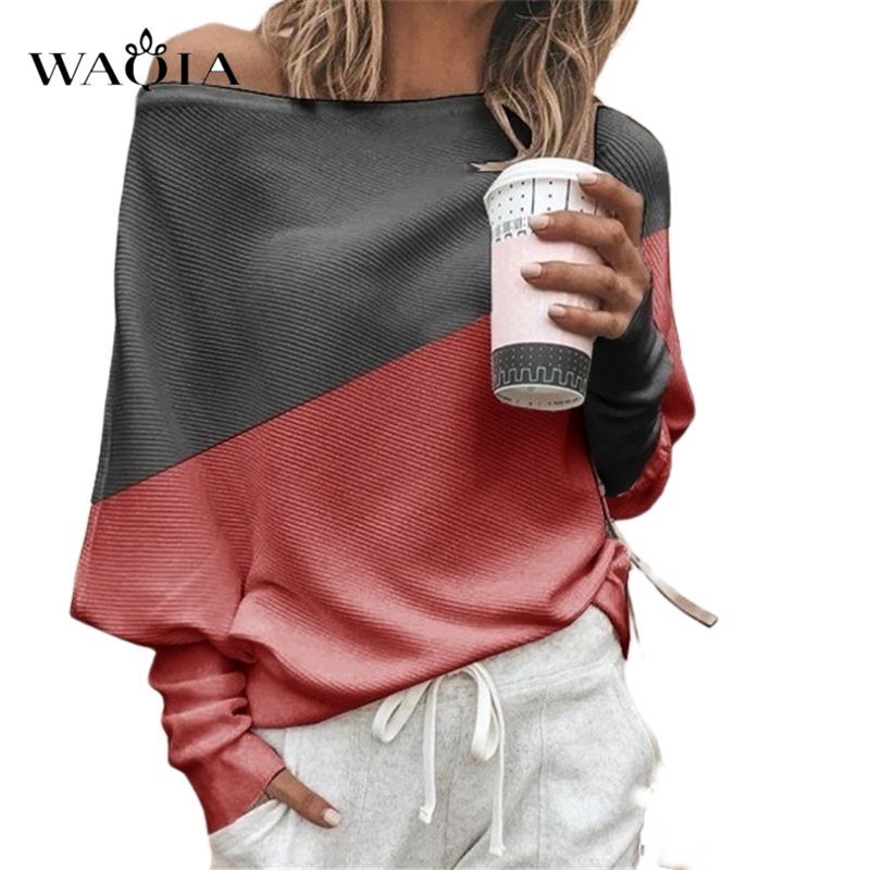 Plus Size Women Sweater Sexy Off Shoulder Knitted Sweater Autumn Winter Color Block Long Sleeve Knit Pullover Tops Pull Femme