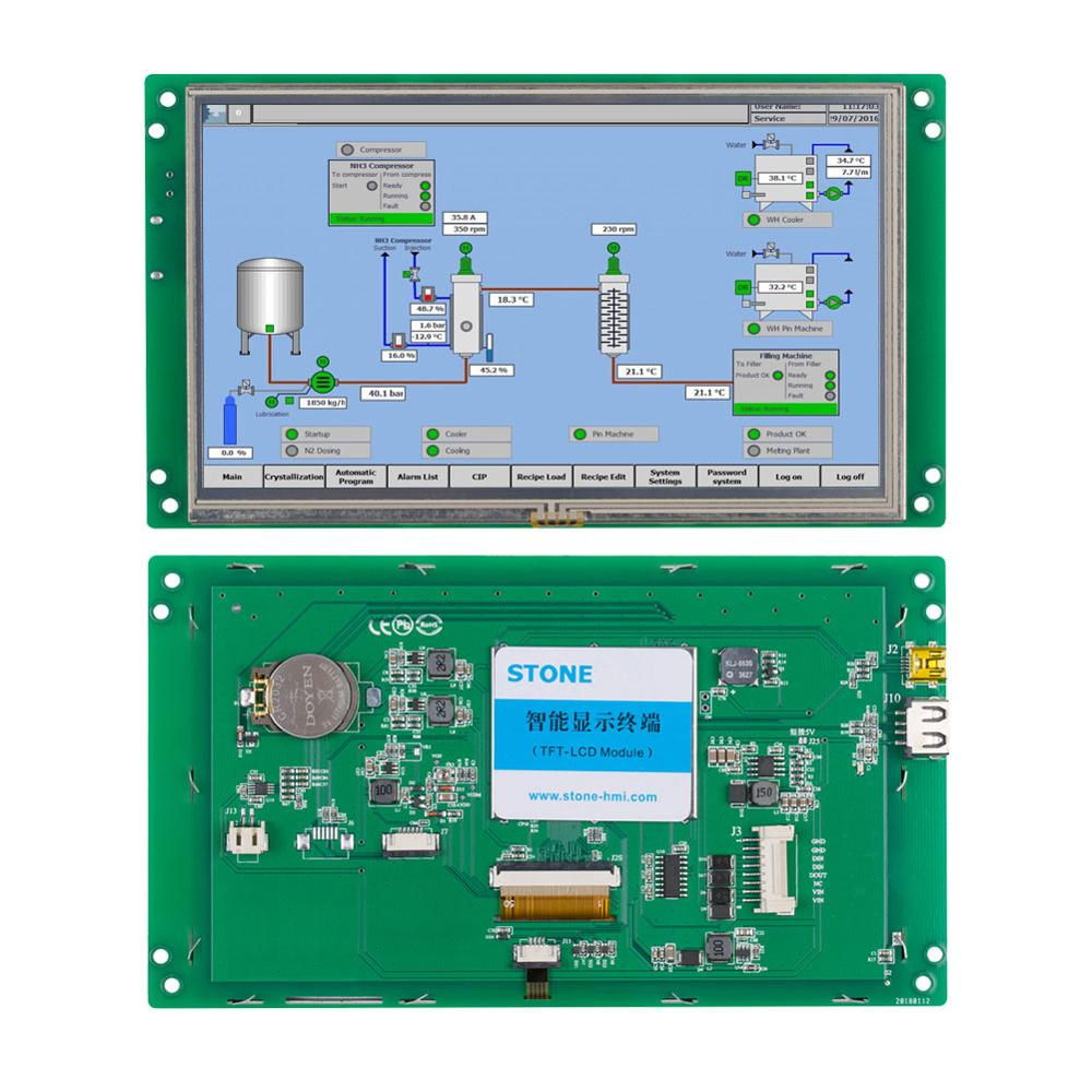 STONE 7.0 Inch HMI TFT LCD Display Module 800*480 Resolution With Embedded System+Software For Industrial Use