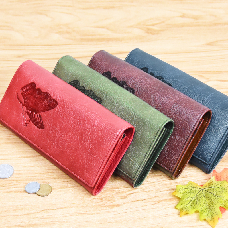 Купить с кэшбэком DICIHAYA Women Leather Wallet Long Purse Phone Pouch Butterfly Embossing Wallet Female Coin Purse Card Holders Carteira Feminina