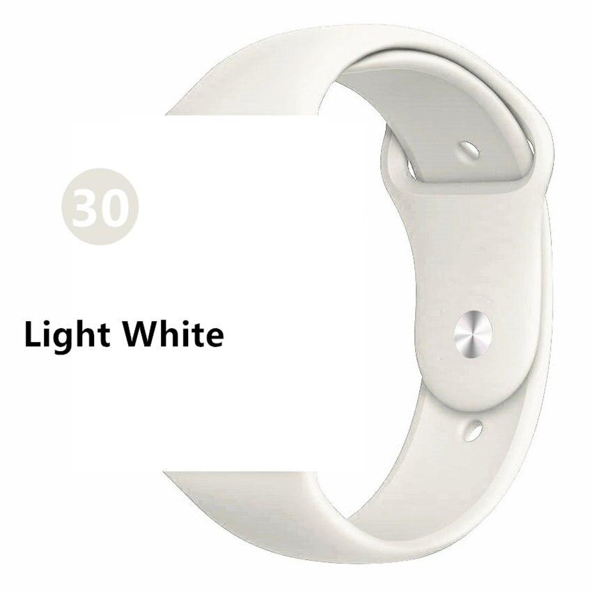 Ремешок для apple watch band 44 мм/40 мм iwatch band 5 4 42 мм 38 мм correa pulseira watch band для apple watch 5 4 3 браслет 44 мм - Цвет ремешка: Light White